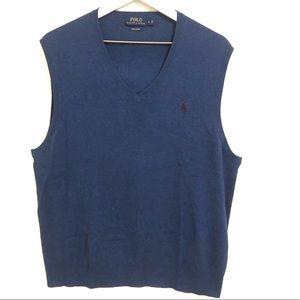 Polo Ralph Lauren Blue Pima Cotton Sweater Vest